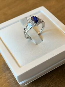 Tanzanian Blue Spinel & Natural Cambodian Zircon Plat Overlay 925 Sterling Ring