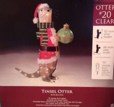 Outdoor Lighted Christmas Holiday Yard Decoration Tinsel Otter