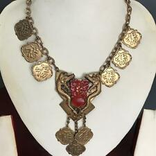 Vtg Art Deco Chinese Dragon Griffin Carved Lucite Gold Tone Charm Necklace