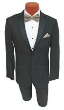 Men's Black Jean Yves Tuxedo with Flat Front Pants Modern Fit 100% Merino Wool