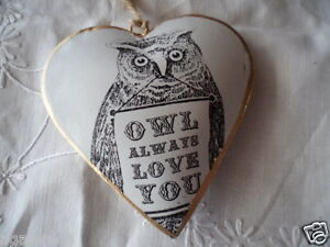 Vintage white and gold puffy hanging tin heart Owl Christmas decoration Xmas