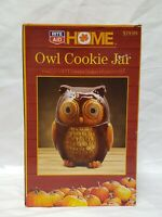"""Owl Cookie Jar Autumn Themed Hand Painted Ceramic 7"""" Tall 2 Pieces SO CUTE  New"""