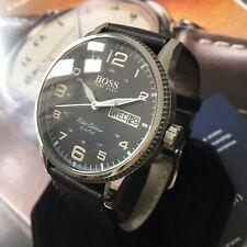 Mens Genuine Hugo Boss Designer Watch PILOT EDITION Twin Date Black Dial Leather