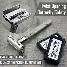 Twist Open Butterfly Safety Razor &10 Double Edge Blades Classic Shaving Vintage