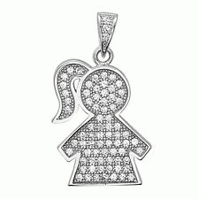Sterling Silver Baby Girl Charm Pendant with AAA quality CZ, Fashion Jewelry