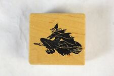 """Nice PSX C-707 Un-used """"FLYING WITCH"""" 1988 Halloween Wood Mounted Rubber Stamp!"""