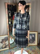 Vtg Best & Co 2 Pc Suit Wool Black & White Plaid skirt & Jacket Near Mint Sz S