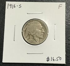 1916-S U.S. BUFFALO INDIAN NICKEL ~ FINE CONDITION! $2.95 MAX SHIPPING! C2723