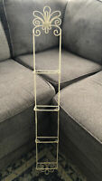 """4-Tier Wall 8"""" Plate Holder Ivory Twisted Wire Rack 40"""" Tall Shabby Cottage Chic"""