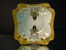 "Pickard China Hand Painted Art Deco Dahlia Rubra 7""D Fluted Corner Bowl Vobornik"