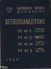 Autobuzul Werke Bukarest Romania  Betriebsanleitung Kastenwagen TV 41 1969