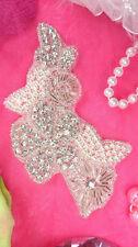 "Xr168 Crystal Rhinestone Applique Silver Beaded Pearl Floral 5.75"" ~Victorian~"