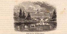 HOTEL FORT WILLIAM HENRY HOSTEL HUDSON USA IMAGE 1860 ENGRAVING