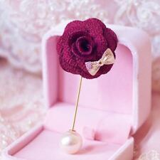 Bow Flower Pearl Brooch Wedding Accessories Corsage Muslim Hijab Scarf Pin Women