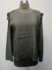 ZARA BASIC COLLECTION Black Long Sleeves Polka Dots Solid Blouse Sz L EE5996