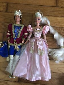 "Mattel 1997 Barbie ""Rapunzel Barbie"" Pink Gown ""Prince Ken"" Doll"