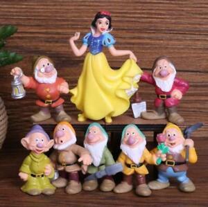 1 Set 8 Disney Princess Snow White & 7 Dwarfs Figure Figures Cake Car Toys 10cm