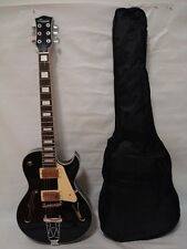 New 6 String Hollow Body Electric Guitar, Free Gig Bag, Black