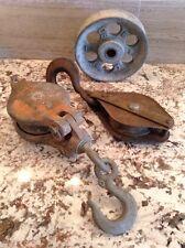 Found Industrial Antique Modern Decor: 2 Pulleys w/Hooks, 1 Wheel - Heavy!