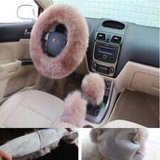 3pcs/set Natural Wool fur Steering Wheel+Shifter+Parking Brake Cover Bean Paste