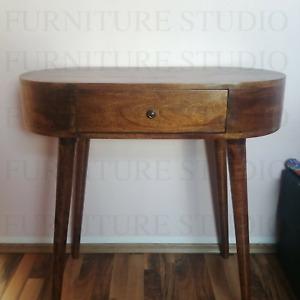 Mid Century Rustic Round Petite Console Table Handmade Vintage Nordic Style Legs