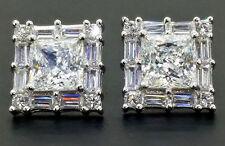Sterling Silver Princess Baguette Prong Art Deco Vintage Diamond Studs Earrings