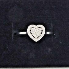 Vintage 9ct white gold 0.33 Diamond heart shaped engagement ring. Size N 1/2.