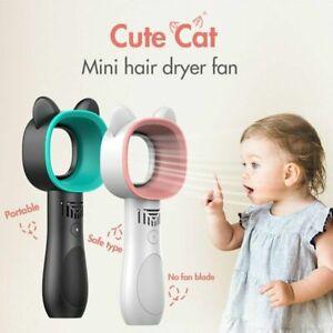 Portable Bladeless Fan Hand Held Cooler Mini USB No Leaf Handy Fan Cute Cat Ear