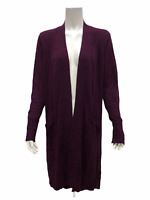 H by Halston Women's Petite Open Front Hi-Low Duster Cardigan Mulberry P2X Size