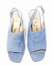 CHANEL Logo Open-Toe Slingback Suede Heels Powder Blue NEW 37 US 7