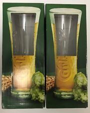 2 X RARE Collectable Carlsberg Beer Glass - & Boxed (europe)