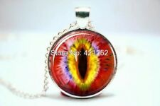 Glass Dome Cabochon Pendant NECKLACE Chain Gothic/ Steampunk Cat Dragon Eye Red