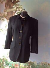 Jones New York Black Wool Long Sleeve Long Suit Blazer Coat Size 12