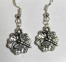 silver Dragonfly bug insect on leaf earrings