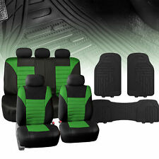 Green Mesh Car Seat Covers Full Set with Black Floor Mats Heavy Duty