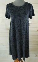 LuLaRoe Carly Size XS Gray Blue Floral High-Low Dress - NWT