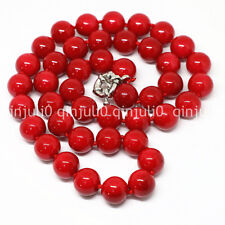 Red coral 8mm round beads Gemstone necklace 18 inches AAAA+