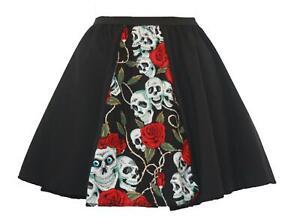"""Ladies 15"""" Skull & Roses Day of the Dead Halloween Fancy Dress Panel Skirt"""
