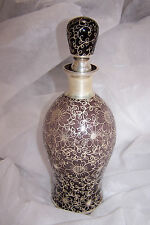 Antique Silver Overlay on Purple Glass Decanter, Ground Stopper, Neck, Beautiful