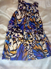Autograph Girls Blue Multi Coloured Pleated Dress Size 12/13yrs