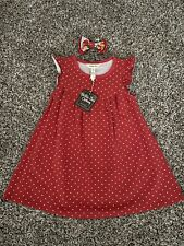 NWT Matilda Jane Size 4 Heart To Heart Red Pearl Dress W/ Matching Bow