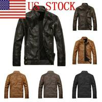 US Men Leather Biker Motorcycle Jacket Stand Collar Pu Jacket Outwear Coat GIFT