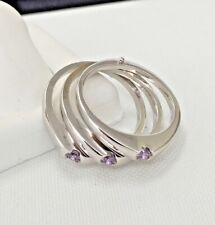 Ladies Triple Amethyst  750 18 K white Gold Ring Size 7 1/4