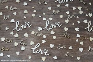 100 piece mix Cursive love words and tiny wood hearts Wedding Decor wooden