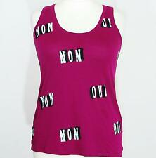 Kenzo ladies deep pink oui non tank top size XL UK 14 16 tshirt vest sleeveless