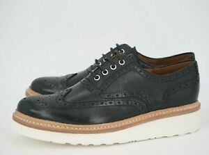 $550   NEW GRENSON 7 G US 8 ARCHIE LEATHER BROGUE BLACK SMOOTH