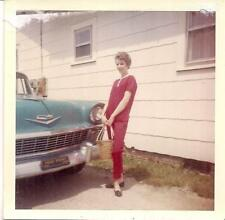 Lovely IDd Bradshaw Lady In Red Standing By Vintage Car HIGH POINT NC 1963 Photo