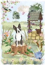 "Boston Terrier Dog (4""x 6"") Blank Card/Notelet ""Wishing Well"" by Starprint"