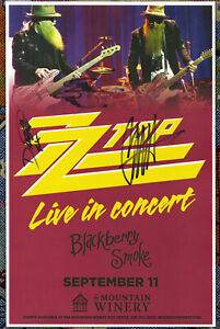 ZZ Top autographed live show poster 2015 Frank Beard, Billy Gibbons, Dusty Hill