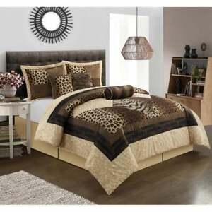 Zebra Leopard Patchwork Safari Brown Tan 7 pc Comforter Set Queen Cal King Bed
